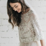 Lace Wedding Top, Boho Lace Top, Wedding Separates, Nude Floral Lace Top, Half Long Sleeve Bridal Top, Open Back - PEONY