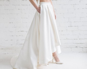 High Low Wedding Skirt - - LILY / Ivory Cascade Skirt with Train / Pleated Bridal Skirt With Pockets / Wedding Separates for Modern Bride