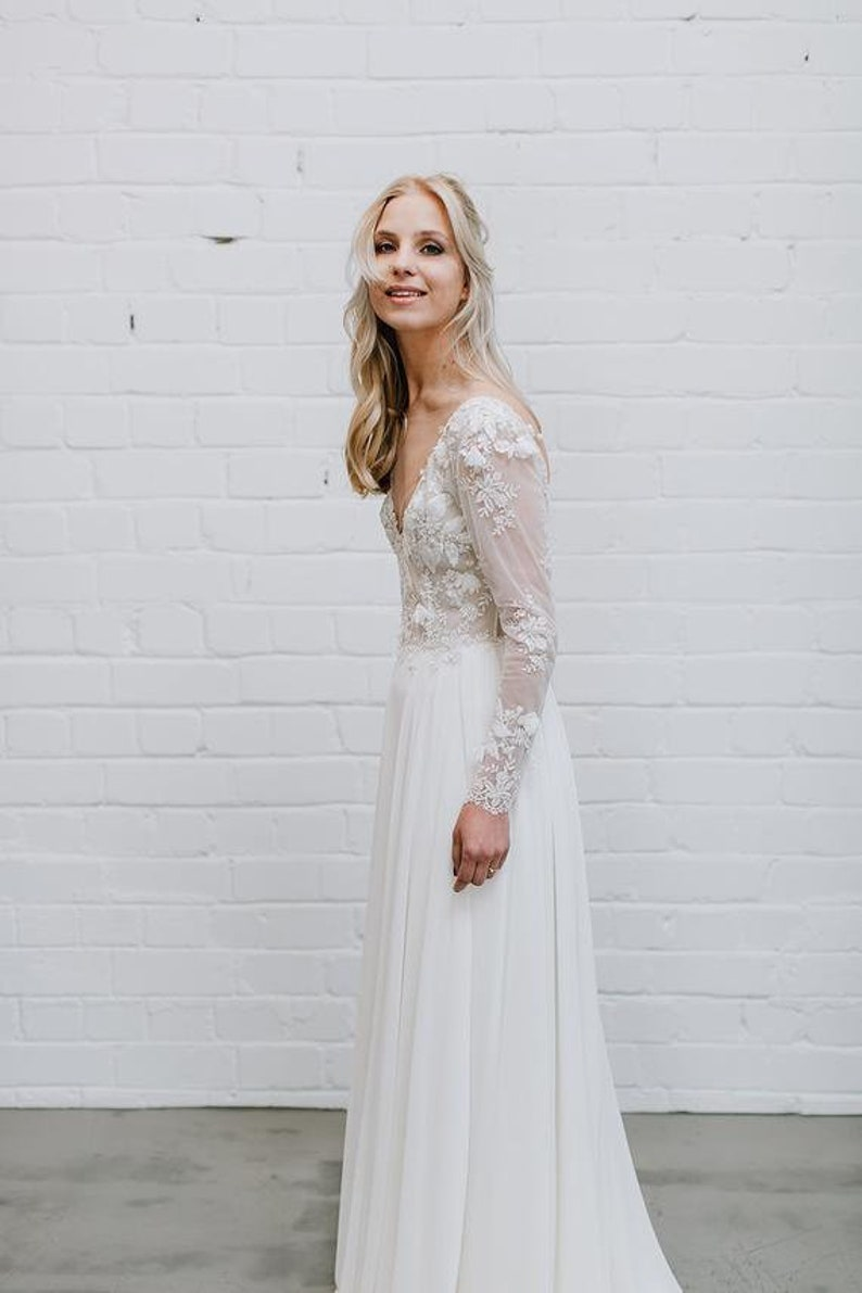 993487087719f Lace Wedding Dress Long Sleeve Wedding Dress Open Back Deep   Etsy