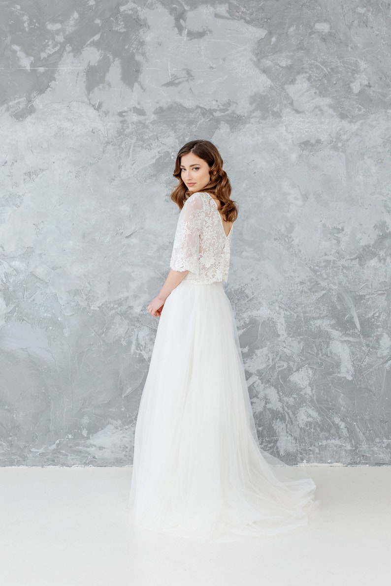 e344d38315574 Boho Wedding Dress, Bridal Separates, Two Piece Wedding Dress , Lace  Wedding Top, Champagne Ivory Bridal Tulle Skirt, Open Back Top - PEONY