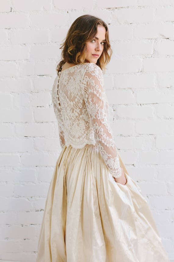 ff232854e436c Bridal Lace Top in Champagne Ivory Beaded Lace Wedding Top | Etsy