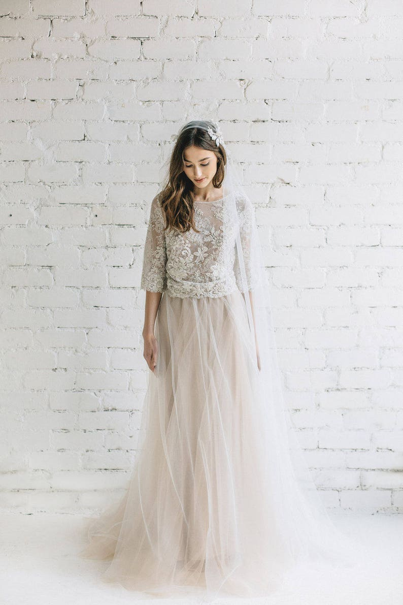 cf6ad94a69aa1 Boho Wedding Dress / Two Piece Wedding Dress / Nude Bridal Tulle Skirt /  Beaded Lace Wedding Top / Bohemian Bride - PEONY