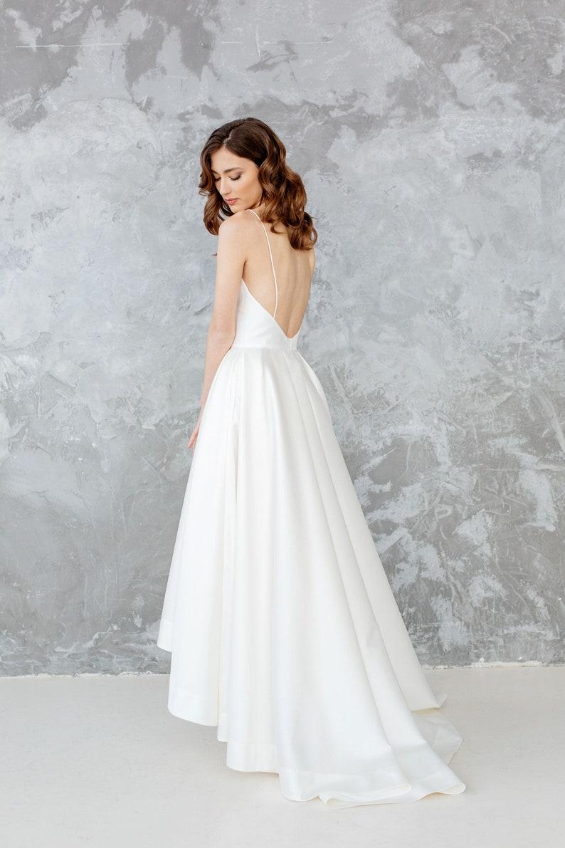 Wedding Dress With Pockets.Simple Wedding Dress High Low Dress With Pockets Minimal Wedding Gown Open Back Wedding Dress For Bride Luka