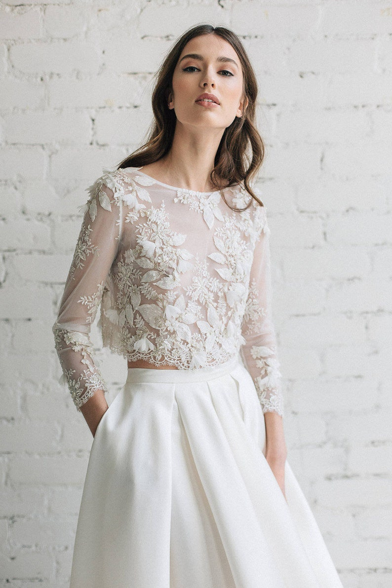 3440bd6758f525 Bridal Lace Top Bridal Separates Long Sleeve Wedding Top