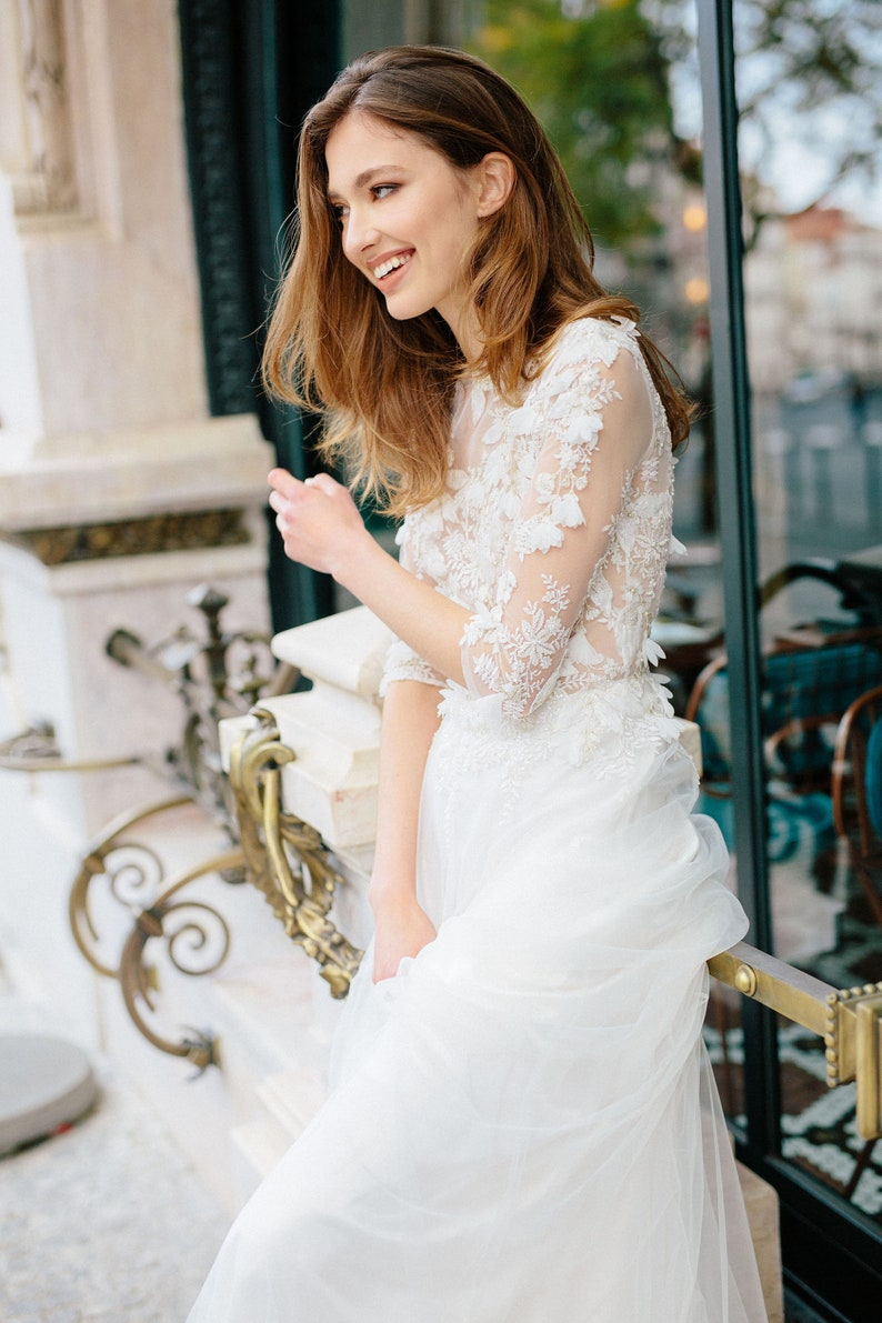 Tulle and Lace Wedding Dress with 3D Decor  CAMILA / Half image 0