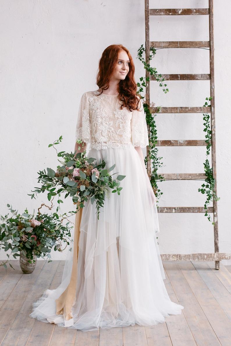 Image 0: Floral Lace Top Wedding Dress At Websimilar.org