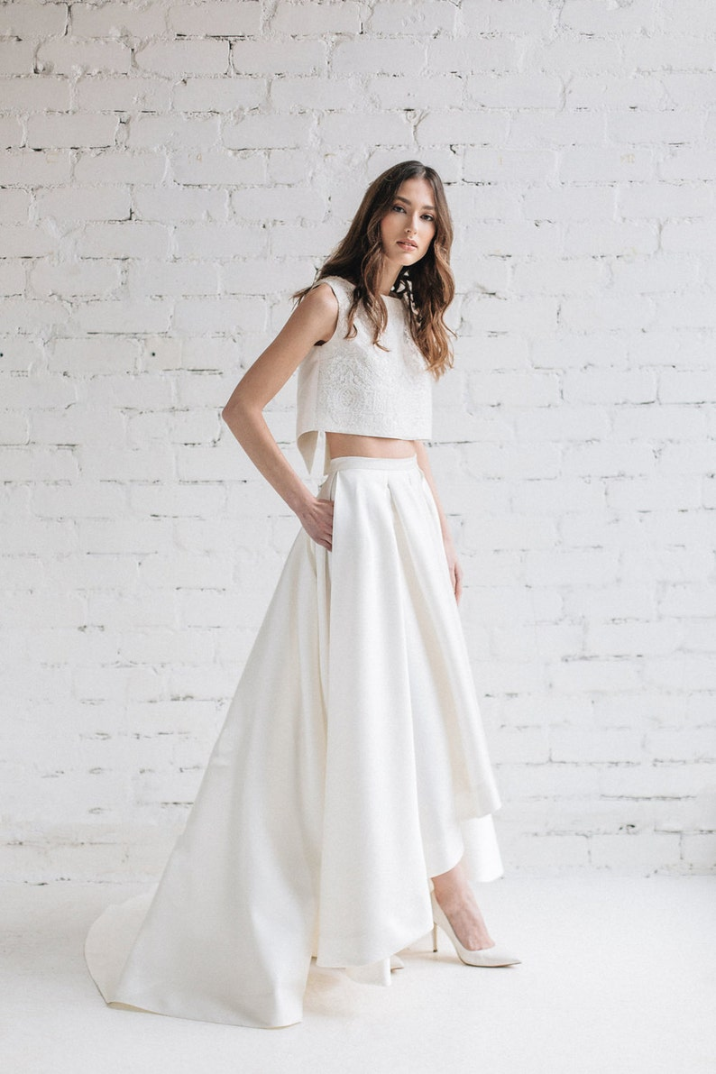 d86a7a9a875 Two Piece Wedding Dress, Bridal Separates, High Low Wedding Dress, Bridal  Crop Top, Cascade Skirt with Train, Crop Top Wedding Dress - LILY