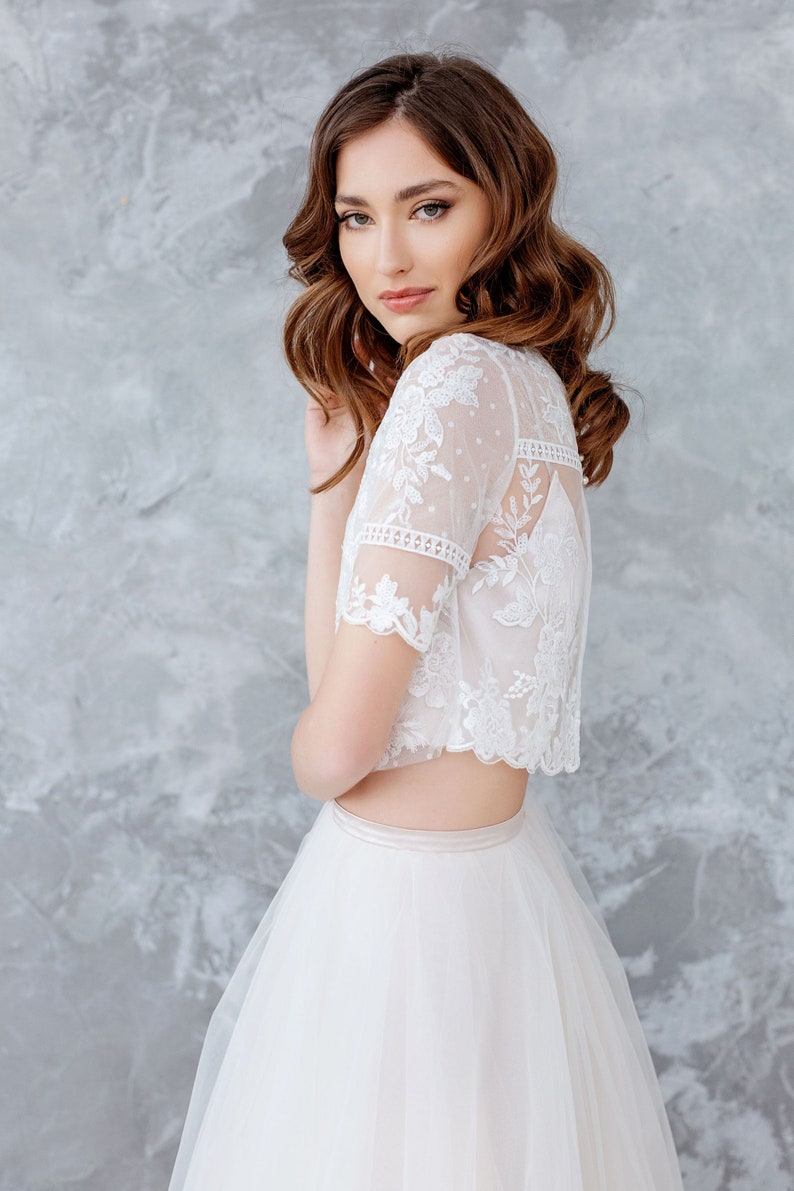 87c6f5bf27631 Lace Wedding Top Sheer Bridal Lace Top Bridal Separates