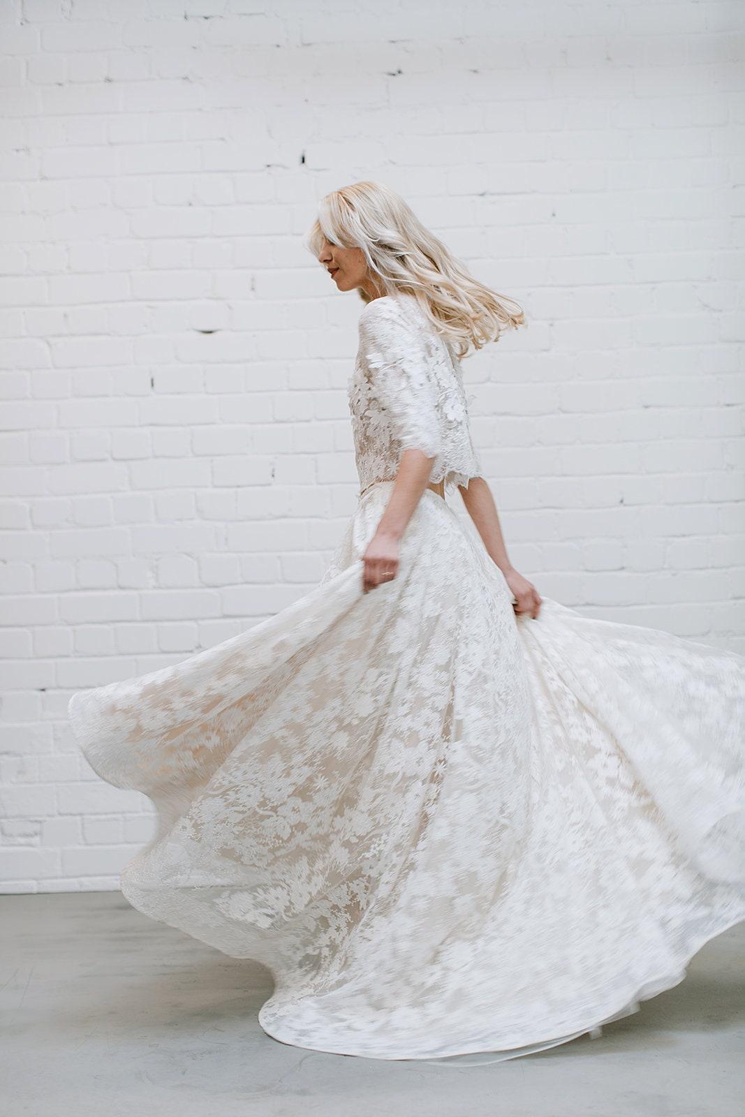 0a5568604f Lace Wedding Dress High Low Dress Two Piece Wedding Dress | Etsy