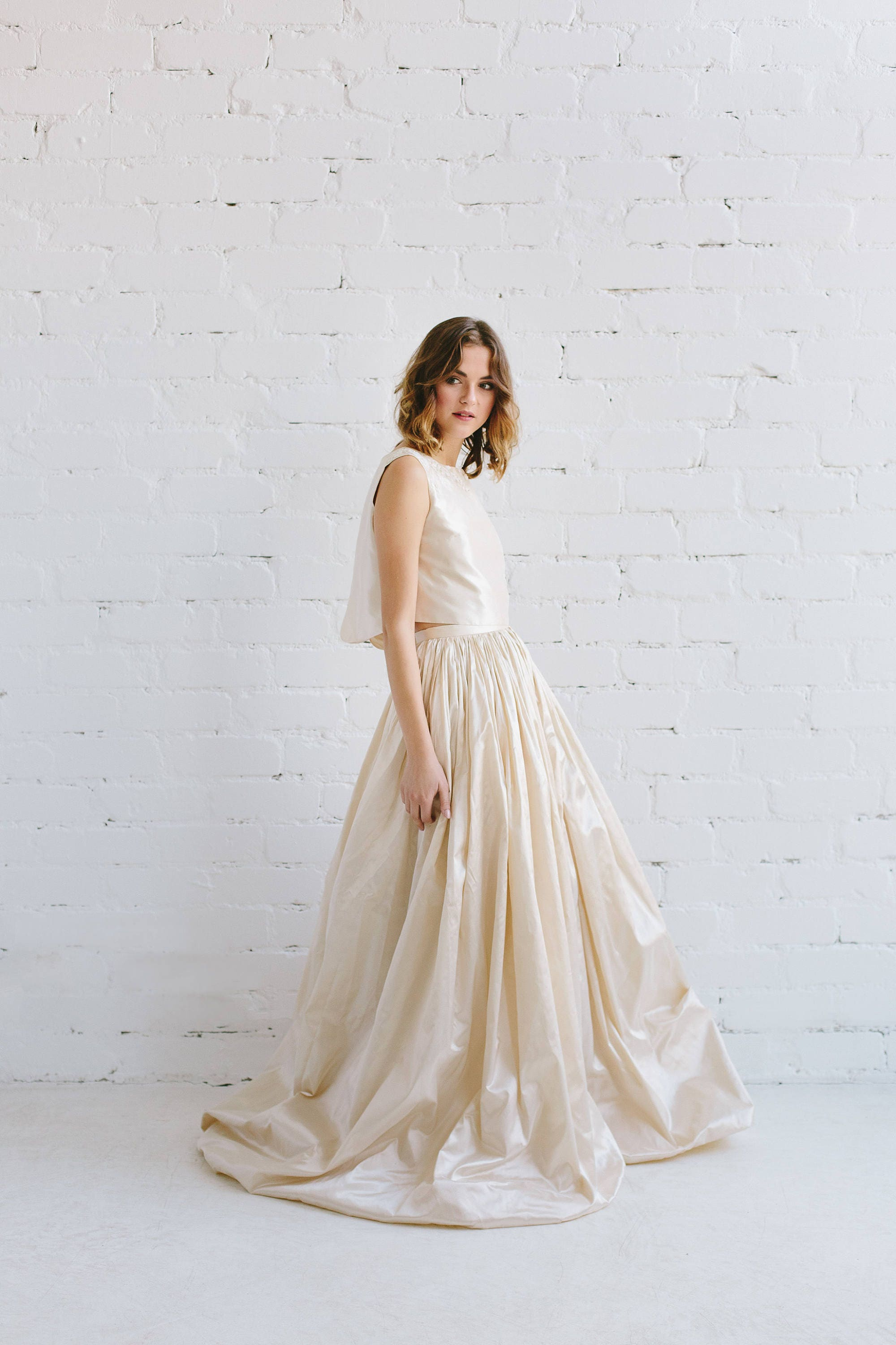 Gold Wedding Dresses.Silk Wedding Dress Two Piece Wedding Dress Bridal Crop Top Champagne Gold Taffeta Gown Bohemian Wedding Dress Open Back Wedding Dress