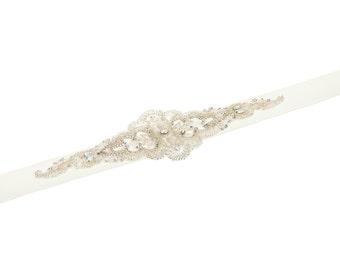 Wedding Sash, Crystal Sash , Swarovski White Opal Crystal Sash , Wedding Dress Sash, Wide Wedding Sash , Ivory Satin Sash
