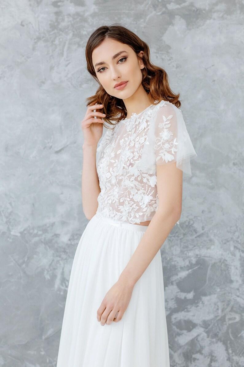 035e4a3d0f00 Bridal Lace Top 3D Wedding Top Bridal Separates Floral | Etsy
