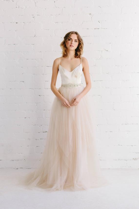 Simple wedding dress Blush Wedding dress Bridal skirt | Etsy