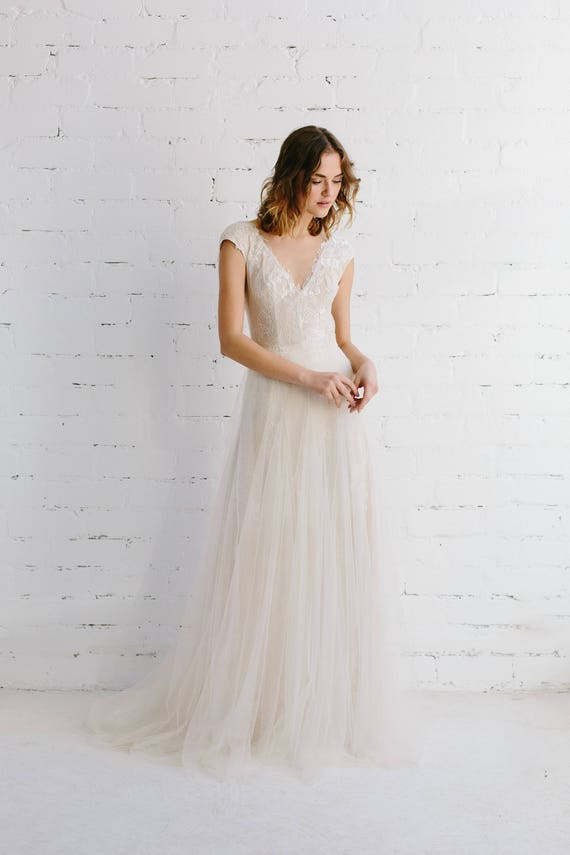 Lace Wedding Dress Blush Wedding Gown Deep V Illusion | Etsy