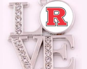 d884d2c7bd721 NCAA Rutgers Scarlet Knights 925 Sterling Silver Snake Chain Team Love  Necklace With Rhinestones Free Shipping