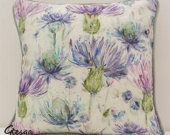 Voyage Thistle Cushion Cover Eilean Donan 40x40cm Piped Purple Mauve Lilac Silver Grey Linen Cotton