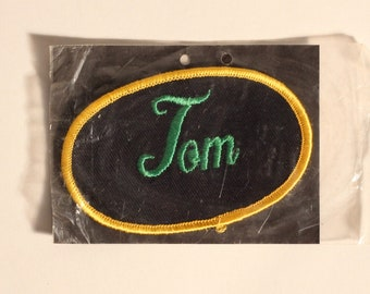 Vtg FRED Name Tag Uniform Oval Patch Blue//White