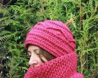 Thick winter Hat woman raspberry Unique handmade crochet handmade