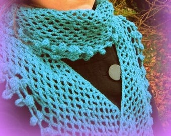 Romantic shabby hand crocheted turquoise shawl