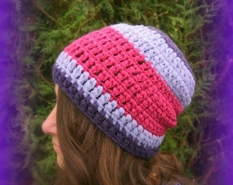 Purple plum purple thick winter Hat raspberry tricolor Unique handmade Designer