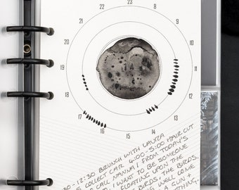 Filofax Calendar Inserts - PERSONAL / Kikki K Medium Daily Calendar Clocks, diagonally ruled note area. Printable INSTANT digital DOWNLOAD