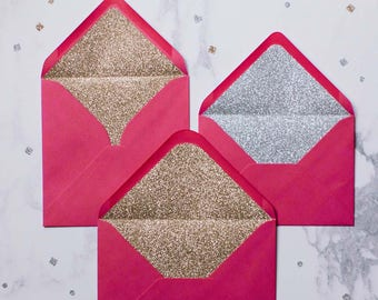 Silver or Gold glitter-lined fuchsia pink envelopes - Pack of 10