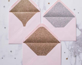 Silver or Gold glitter-lined candy pink envelopes - Pack of 10