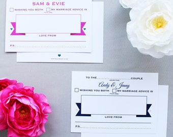Pack of 50 personalised wedding advice cards - Banner design
