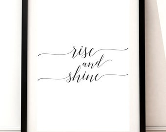 Shine typography, printable hand lettered, watercolor typography, wall art home, Rise & Shine, instant download art, Motivational art, print