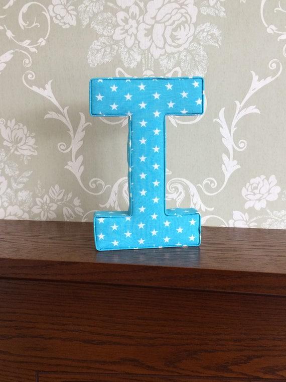 Turquoise unisex nursery wall art, fabric letters, freestanding letters,  Christening, birthday, Christmas, keepsake gift idea for kids, UK