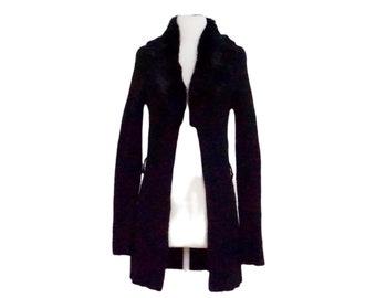 fur trimmed black duster  vintage white fur collar midi coat  black duster with white fur collar  lined for winter