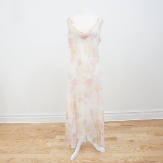 Vintage White Floral Slip Midi Dress - image 4