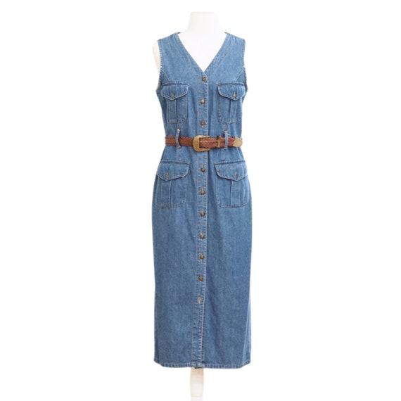 Denim Button Down Midi Dress