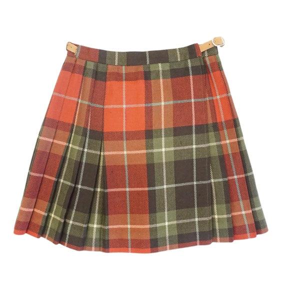 Red Plaid Vintage 90s Wool Pleated Mini Skirt