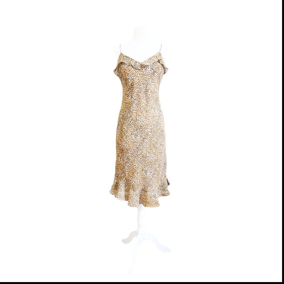 90s Cheetah Print Midi Dress