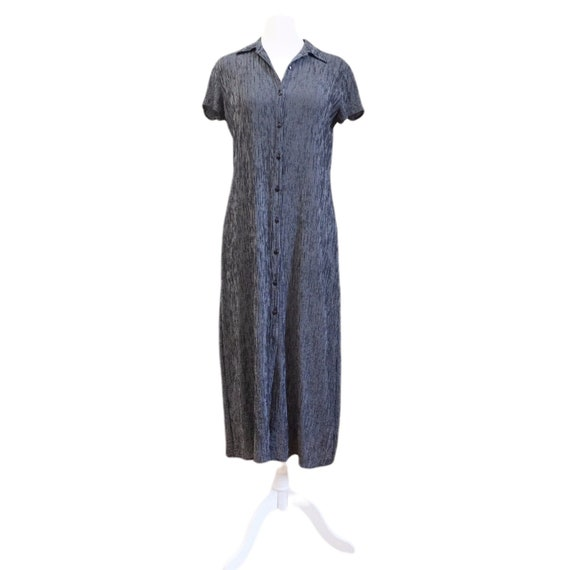 Black Plaid Button Down Dress