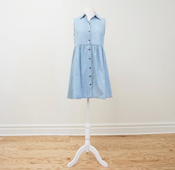 Vintage 90s Denim Button Down Mini Dress