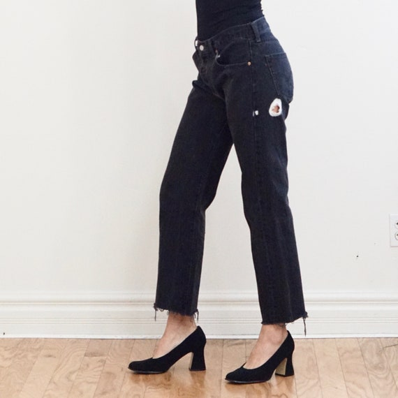 Black Levi 501 Jeans with Raw Hemline