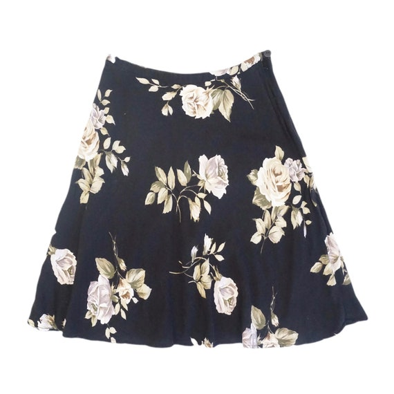 Black Rose Print Circle Skirt