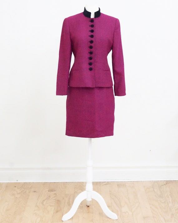 Vintage Fuchsia Tweed Skirt Suit Set