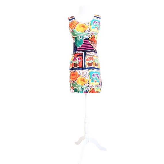 Floral & Fruit Watercolor Mini Dress