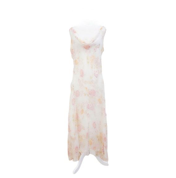 Vintage White Floral Slip Midi Dress - image 1