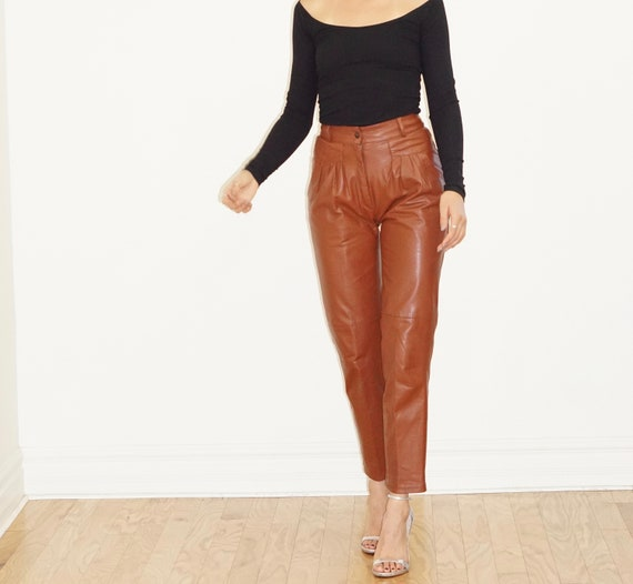 Brown Leather Pleated Pant