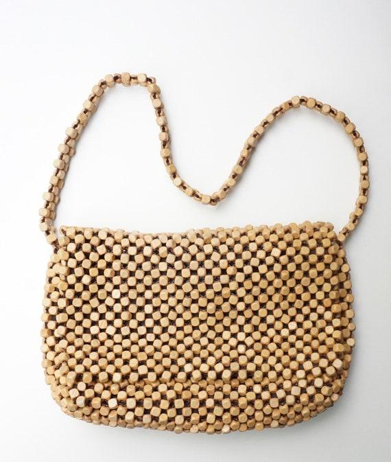 Vintage Wood Beaded Shoulder Bag