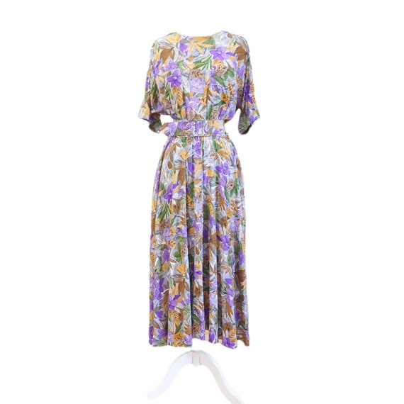 Vintage Silk Tropical Print Belted Dress