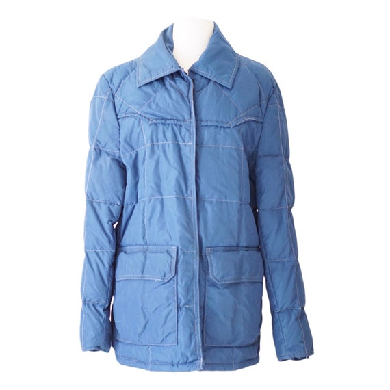 Vintage Blue Down Quilted Jacket