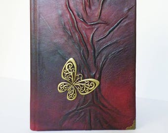 Leather Journal, A5 Diary Notebook, Graduation, Birthday, Anniversary, Butterfly Gift Women, Girl, Tree of Life, Travel Journal, Leather Art