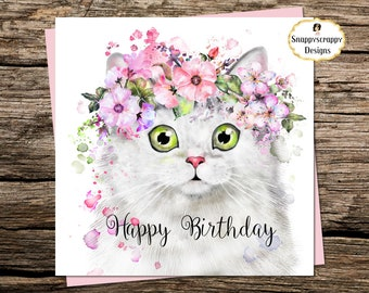Persian card etsy cat birthday card white persian square card m4hsunfo