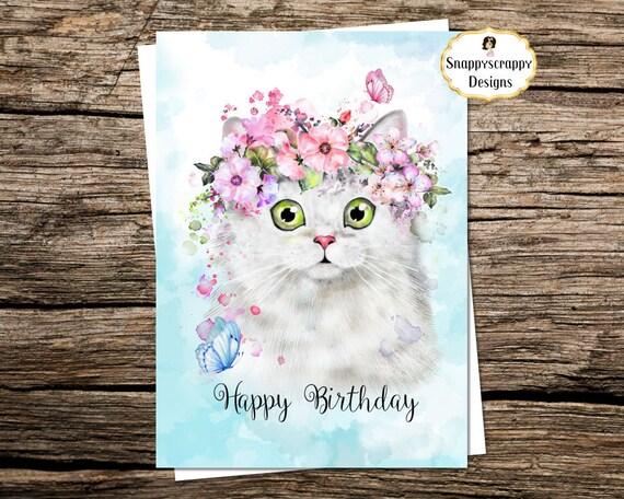 White Persian Cat Birthday Card A5 Etsy
