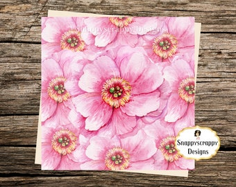 Pink Flowers Notelet Card